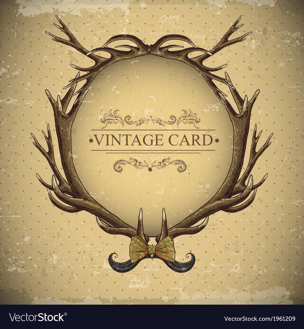 Vintage roses card with deer antlers vector | Price: 1 Credit (USD $1)