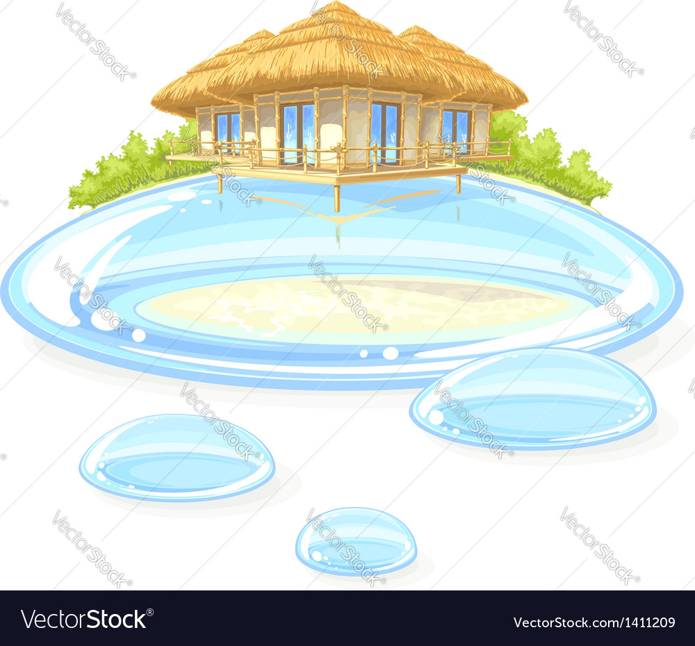 Water bungalow vector | Price: 1 Credit (USD $1)