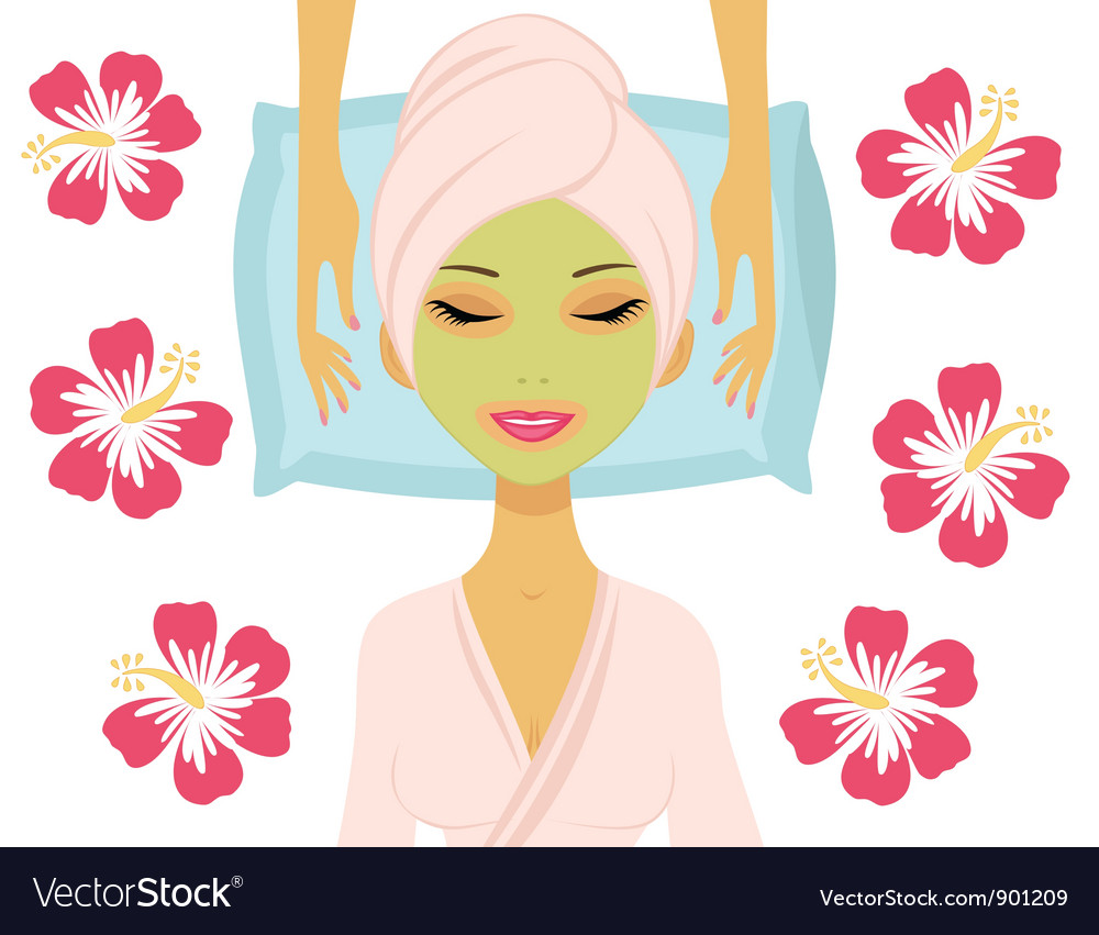Woman having beauty treatment vector | Price: 1 Credit (USD $1)