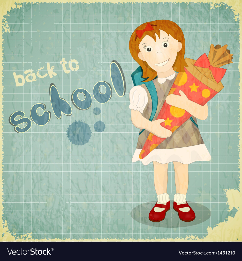 Back to school vintage card vector | Price: 1 Credit (USD $1)