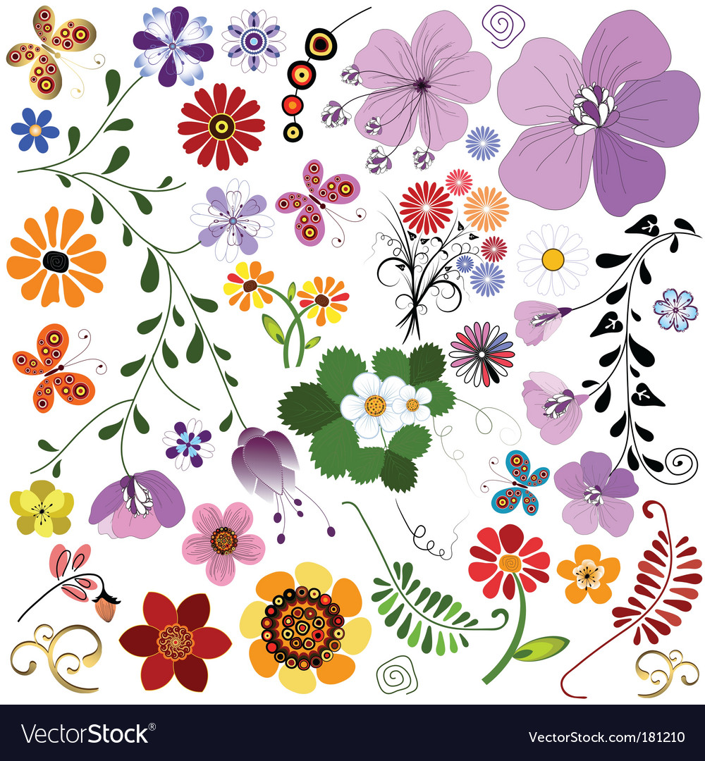 Big collection flowers and butterflies vector | Price: 1 Credit (USD $1)