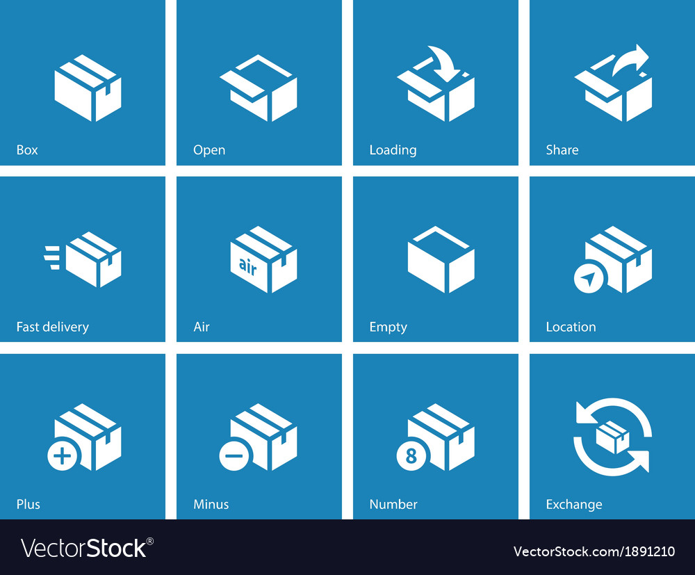 Box icons on blue background vector | Price: 1 Credit (USD $1)