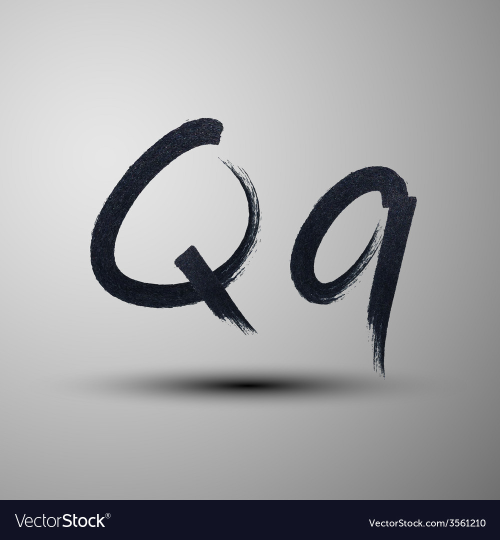 Calligraphic hand-drawn marker or ink letter q vector | Price: 1 Credit (USD $1)