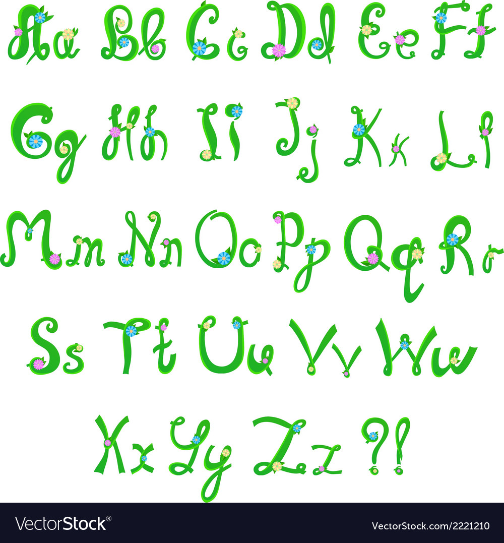 English hand-written alphabet in spring style vector | Price: 1 Credit (USD $1)
