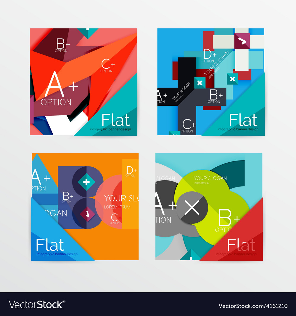 Flat design square shape infographic banner vector | Price: 1 Credit (USD $1)