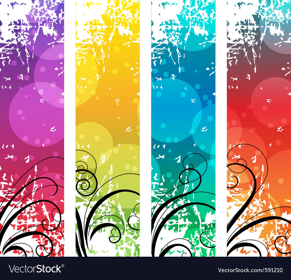 Four abstract vertical banners vector | Price: 1 Credit (USD $1)