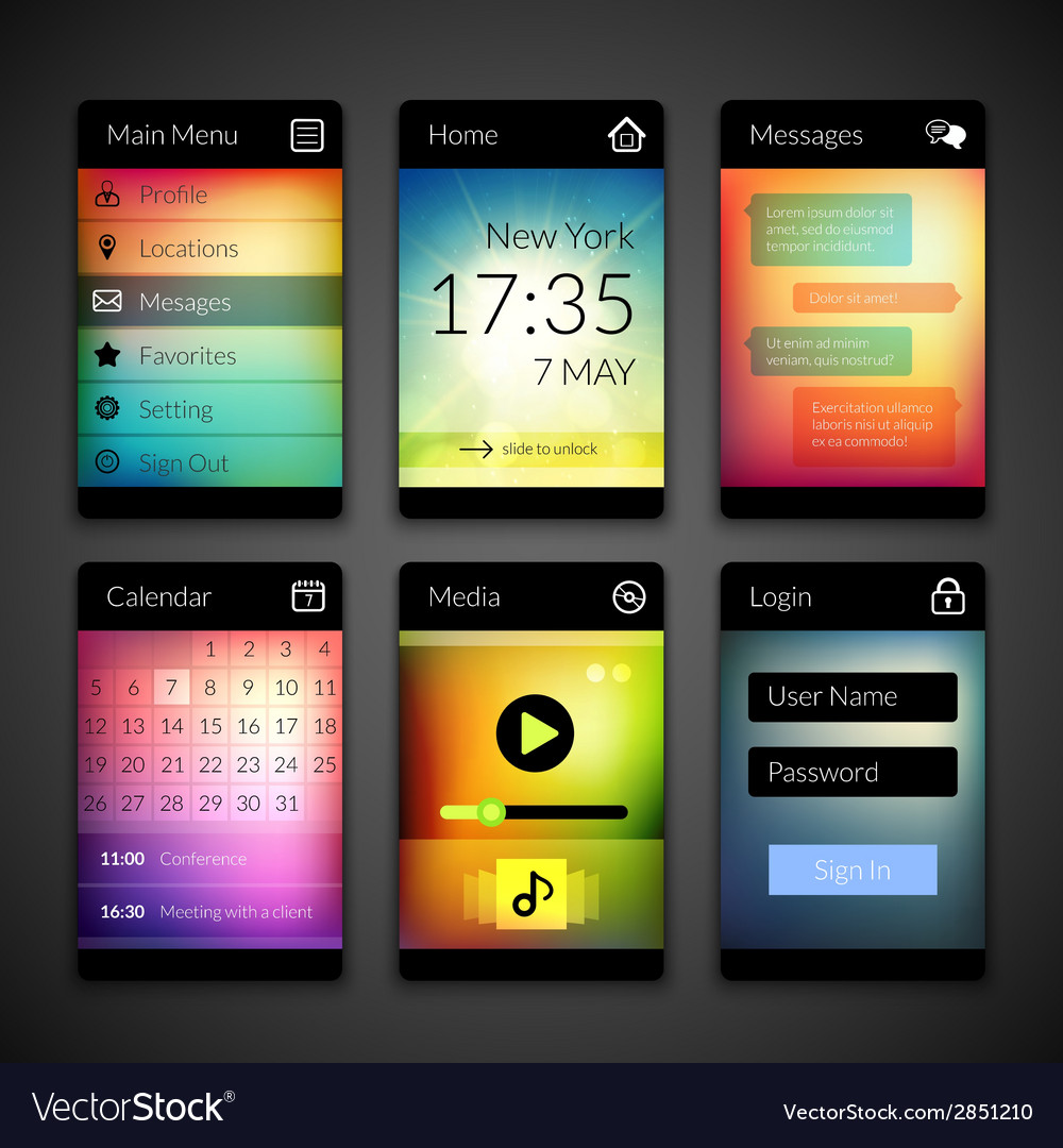 Mobile interface elements with colorful wallpaper vector | Price: 1 Credit (USD $1)
