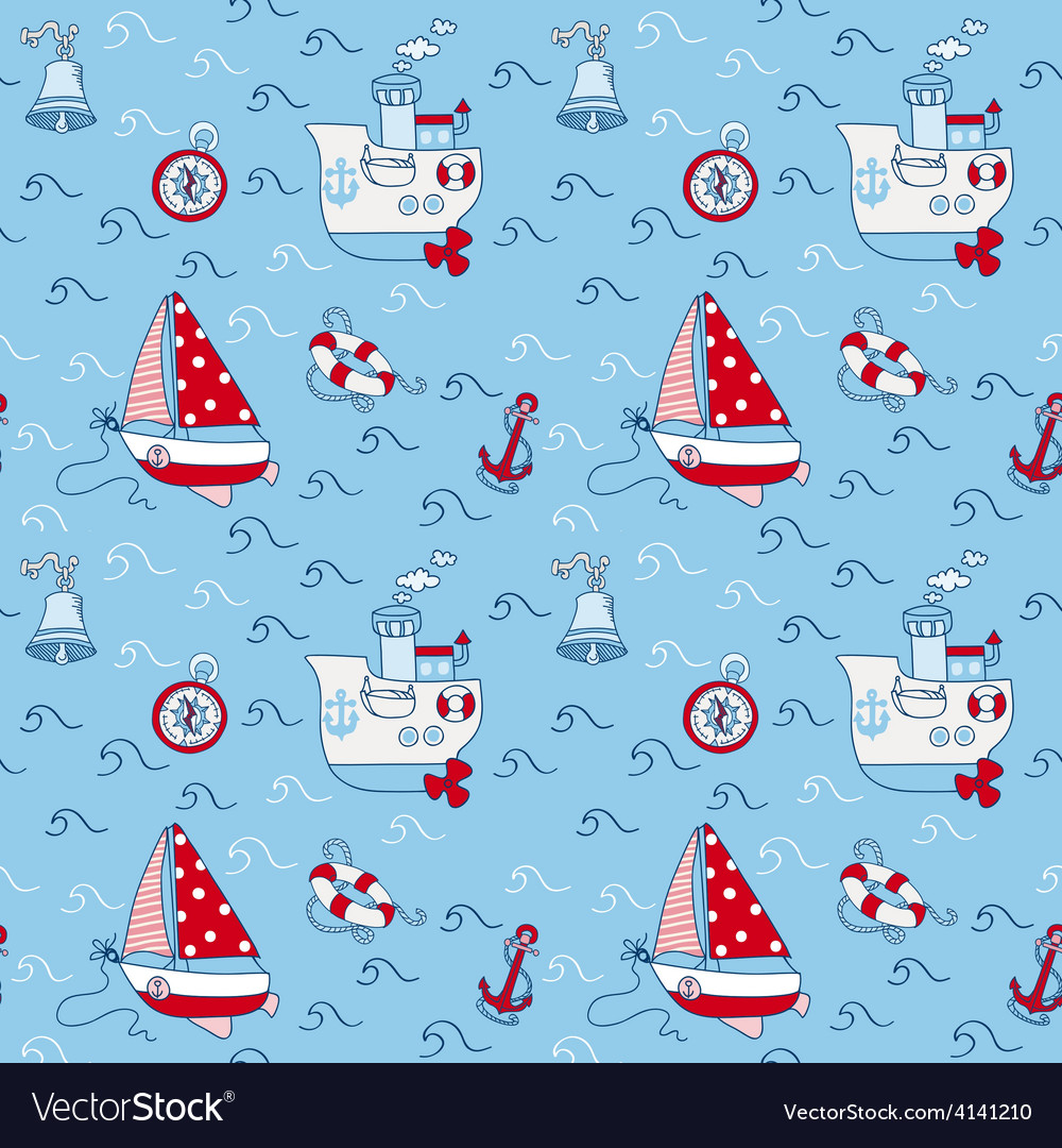 Nautical sea seamless pattern vector | Price: 1 Credit (USD $1)