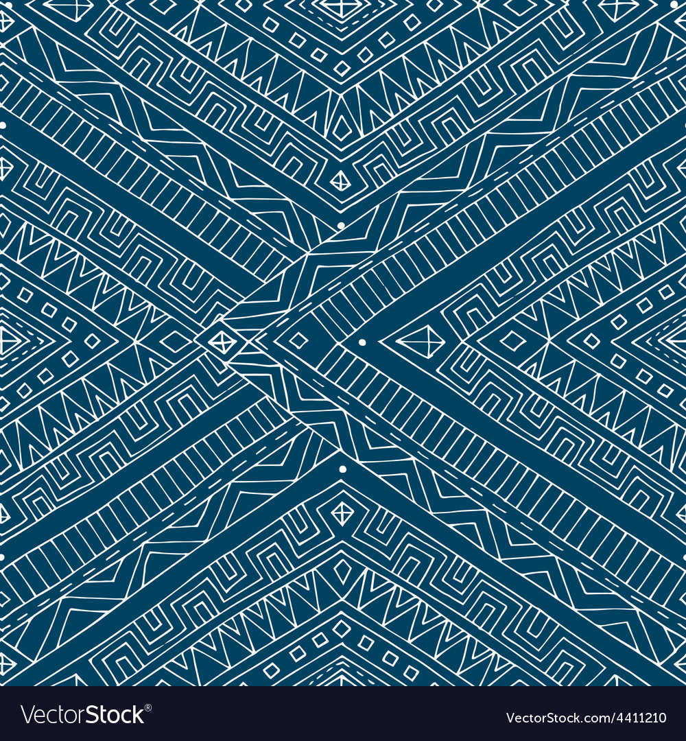 Seamless asian ethnic retro doodle pattern vector | Price: 1 Credit (USD $1)
