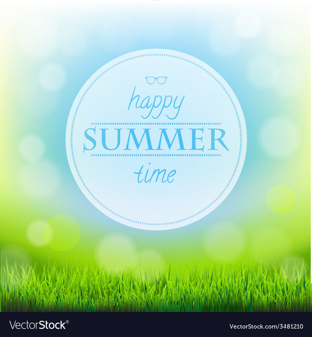 Summer time banner with green grass vector | Price: 1 Credit (USD $1)