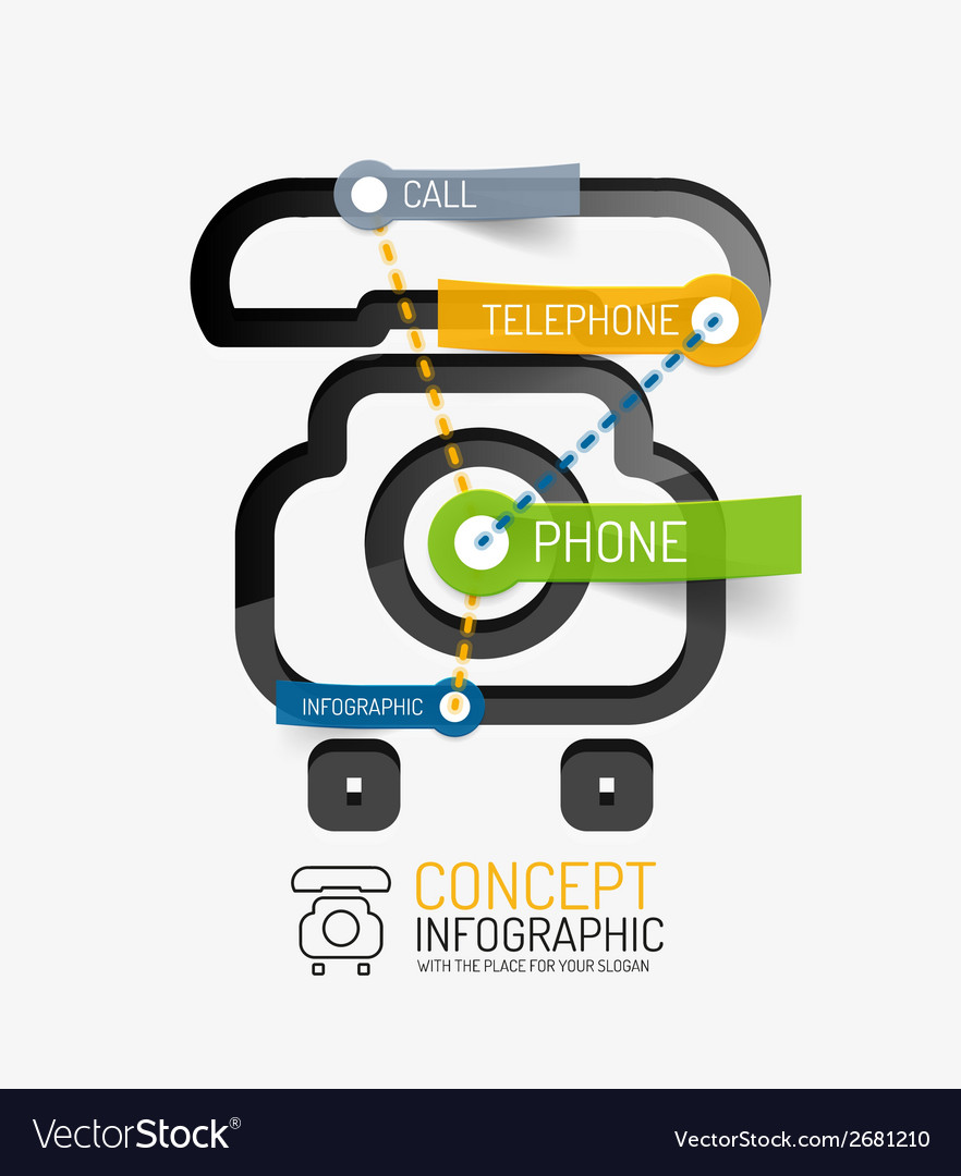 Telephone infographic keywords line style vector | Price: 1 Credit (USD $1)