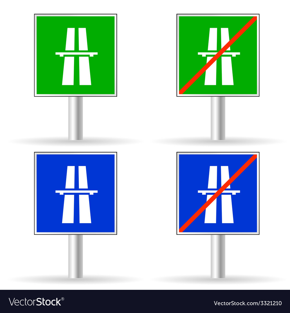 Traffic sign freeway color vector | Price: 1 Credit (USD $1)