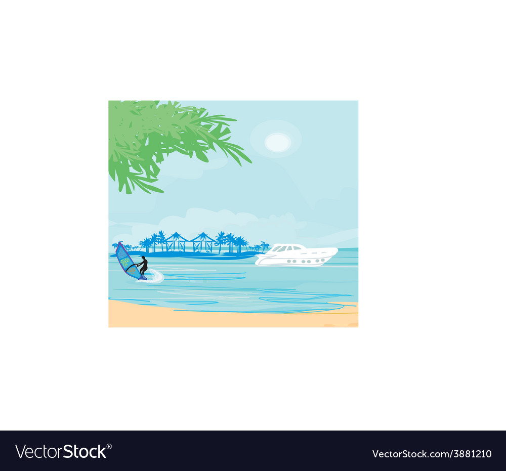 Windsurfer on the wave vector | Price: 1 Credit (USD $1)