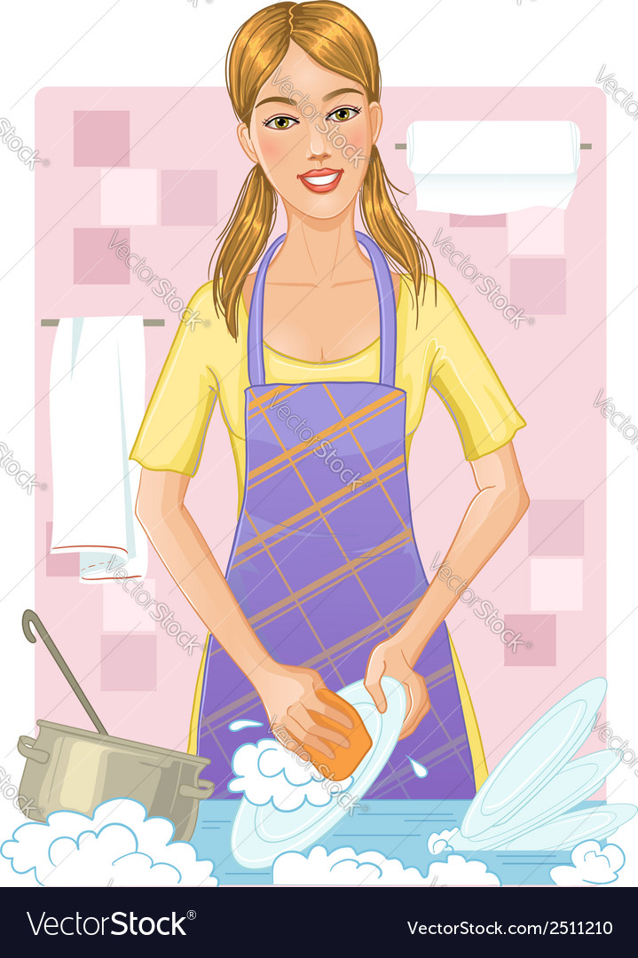 Young woman washing dishes vector | Price: 1 Credit (USD $1)