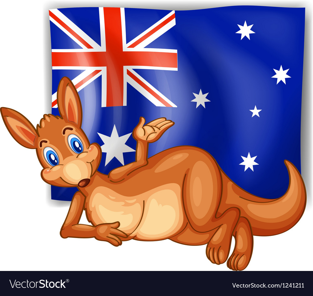 A kangaroo in front of the australian flag vector | Price: 1 Credit (USD $1)