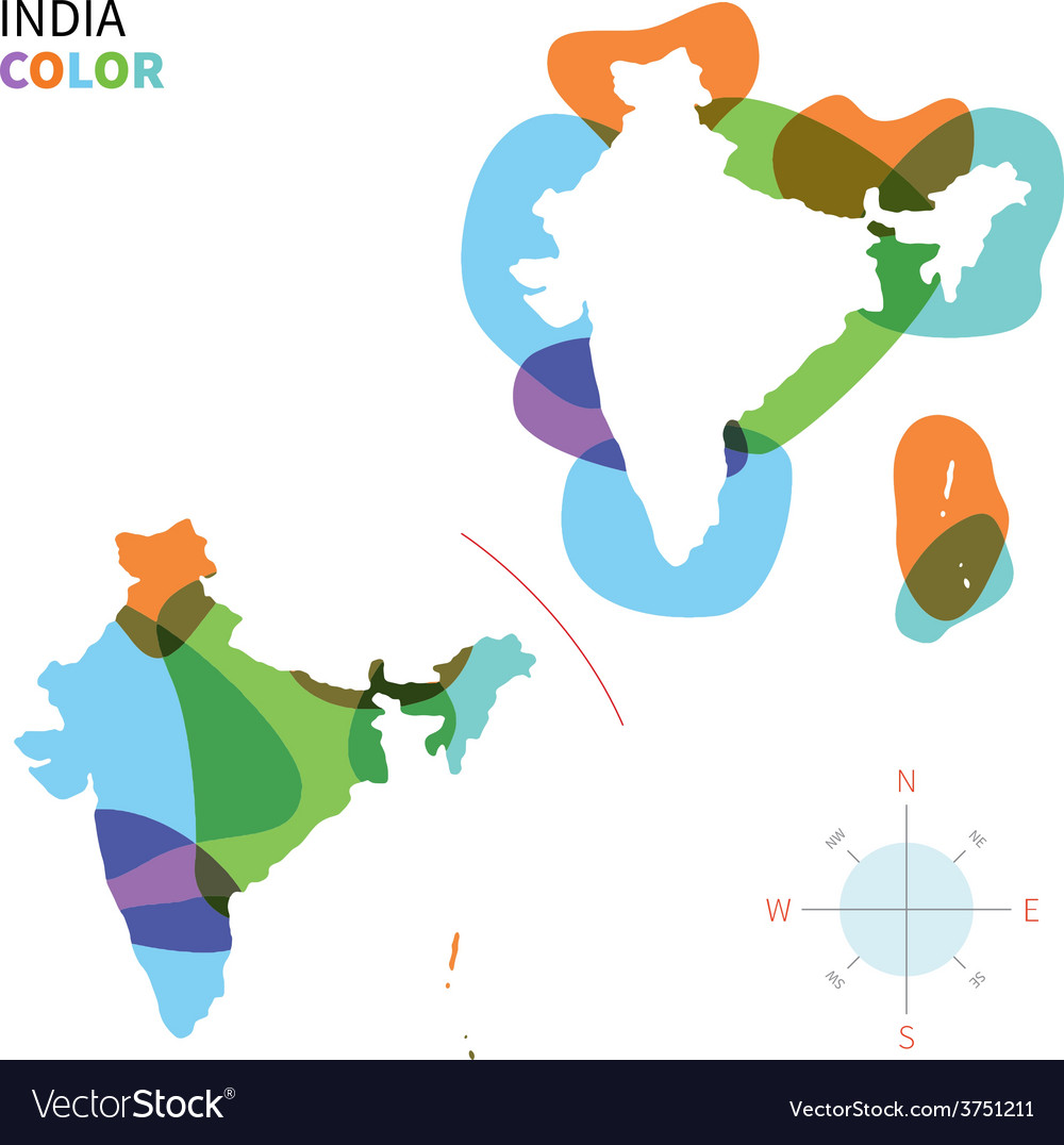 Abstract color map of india vector | Price: 1 Credit (USD $1)