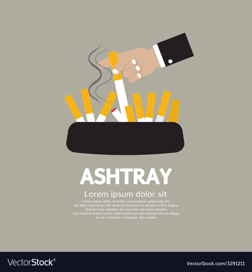 Ashtray with cigarette lighted vector | Price: 1 Credit (USD $1)