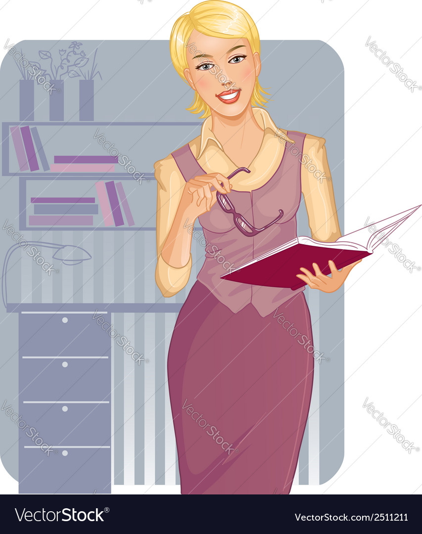 Business woman with journal near desk vector | Price: 1 Credit (USD $1)