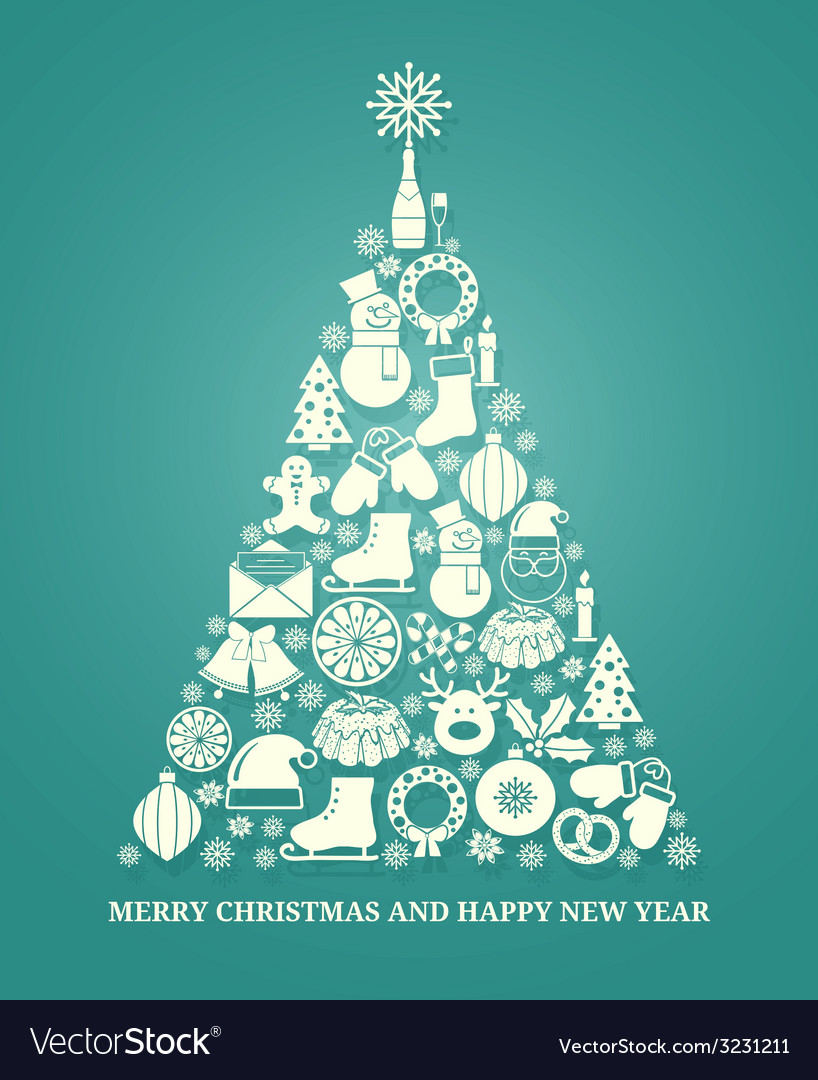 Christmas greeting card with a tree vector | Price: 1 Credit (USD $1)