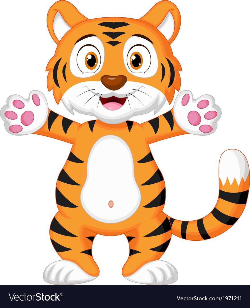 Cute baby tiger cartoon vector | Price: 1 Credit (USD $1)