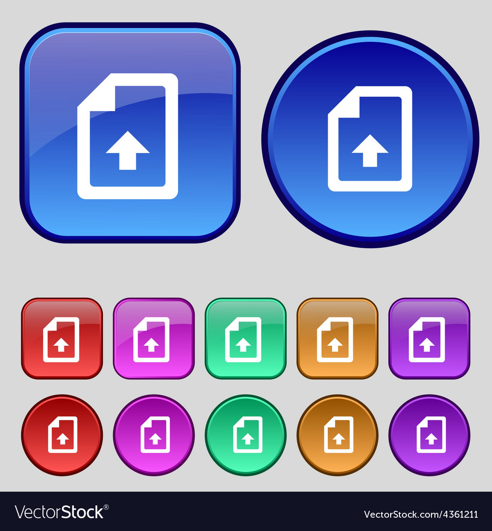 Export upload file icon sign a set of twelve vector | Price: 1 Credit (USD $1)