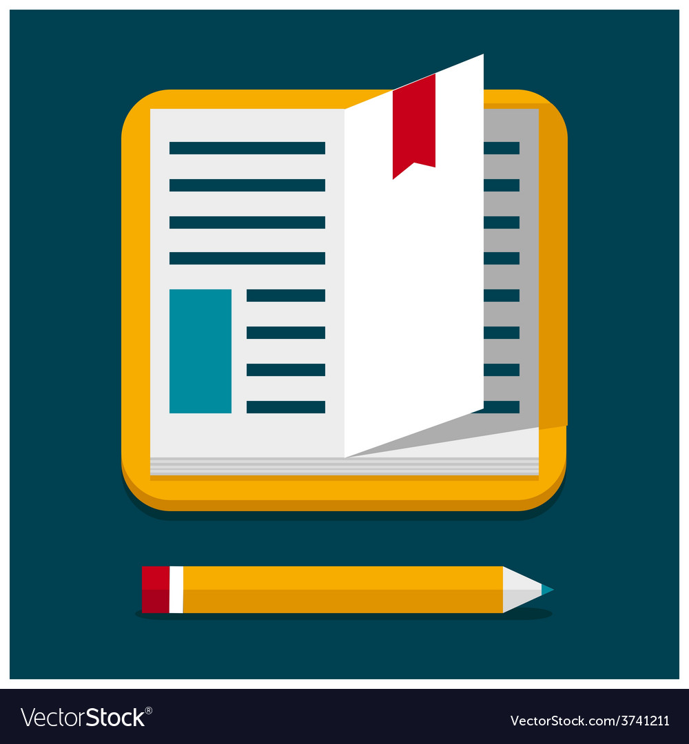 Flat book with pen vector | Price: 1 Credit (USD $1)
