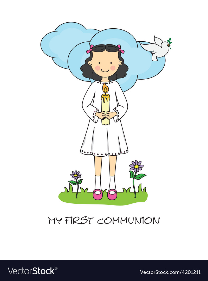 Girl first communion card vector | Price: 1 Credit (USD $1)