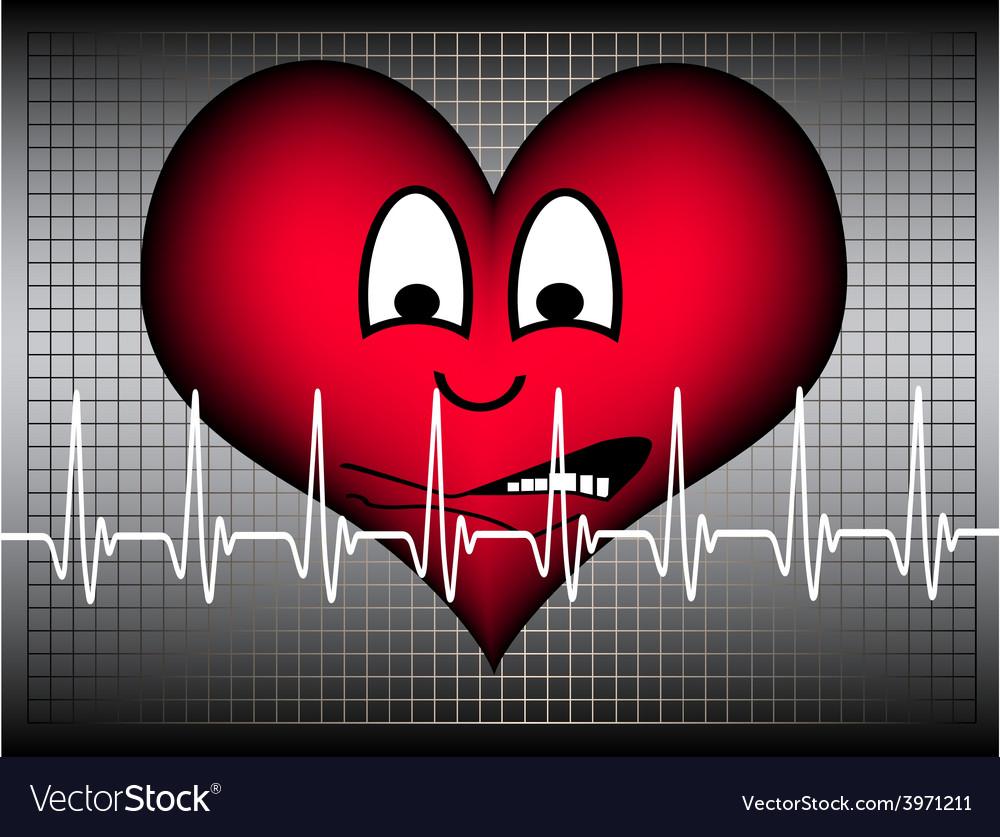 Heart afraid on grey white cardio line vector | Price: 1 Credit (USD $1)