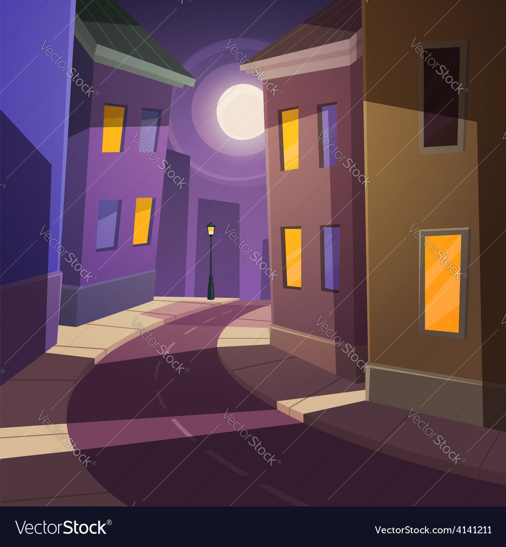 Night city street vector | Price: 3 Credit (USD $3)