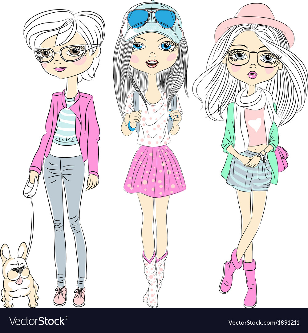 Set hipster beautiful fashion girls vector | Price: 1 Credit (USD $1)