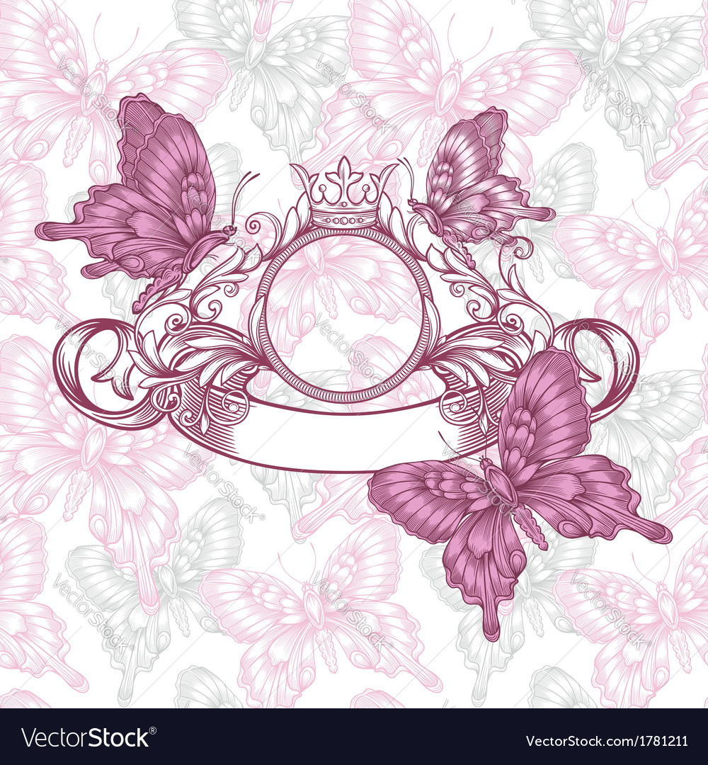 Vintage emblem with butterflies seamless pattern vector | Price: 1 Credit (USD $1)