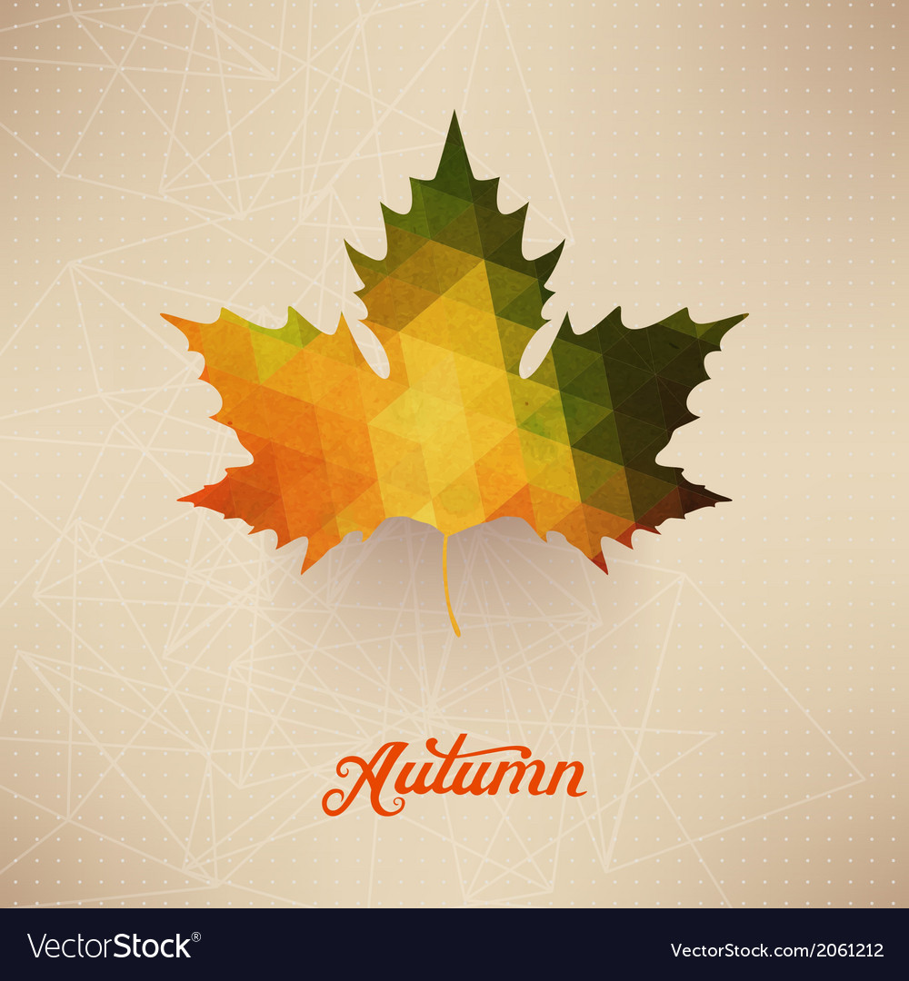 Autumnal maple leaf background made of triangles vector   Price: 1 Credit (USD $1)