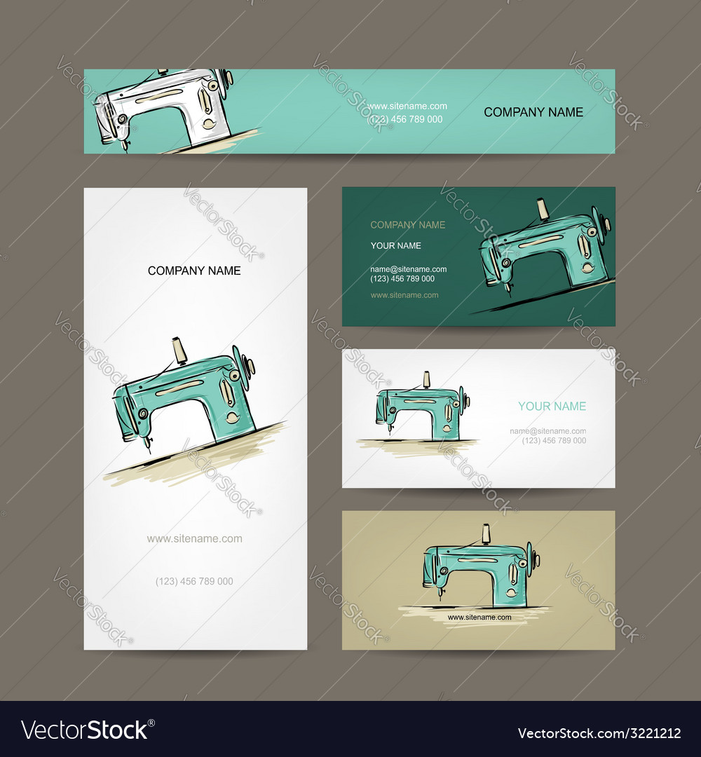 Business cards design sewing maschine sketch vector | Price: 1 Credit (USD $1)