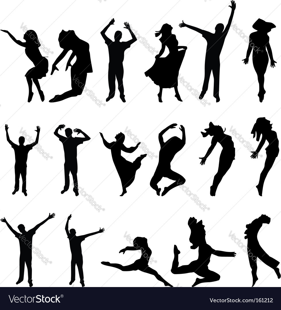 Dance many people silhouette illustration vector | Price: 1 Credit (USD $1)