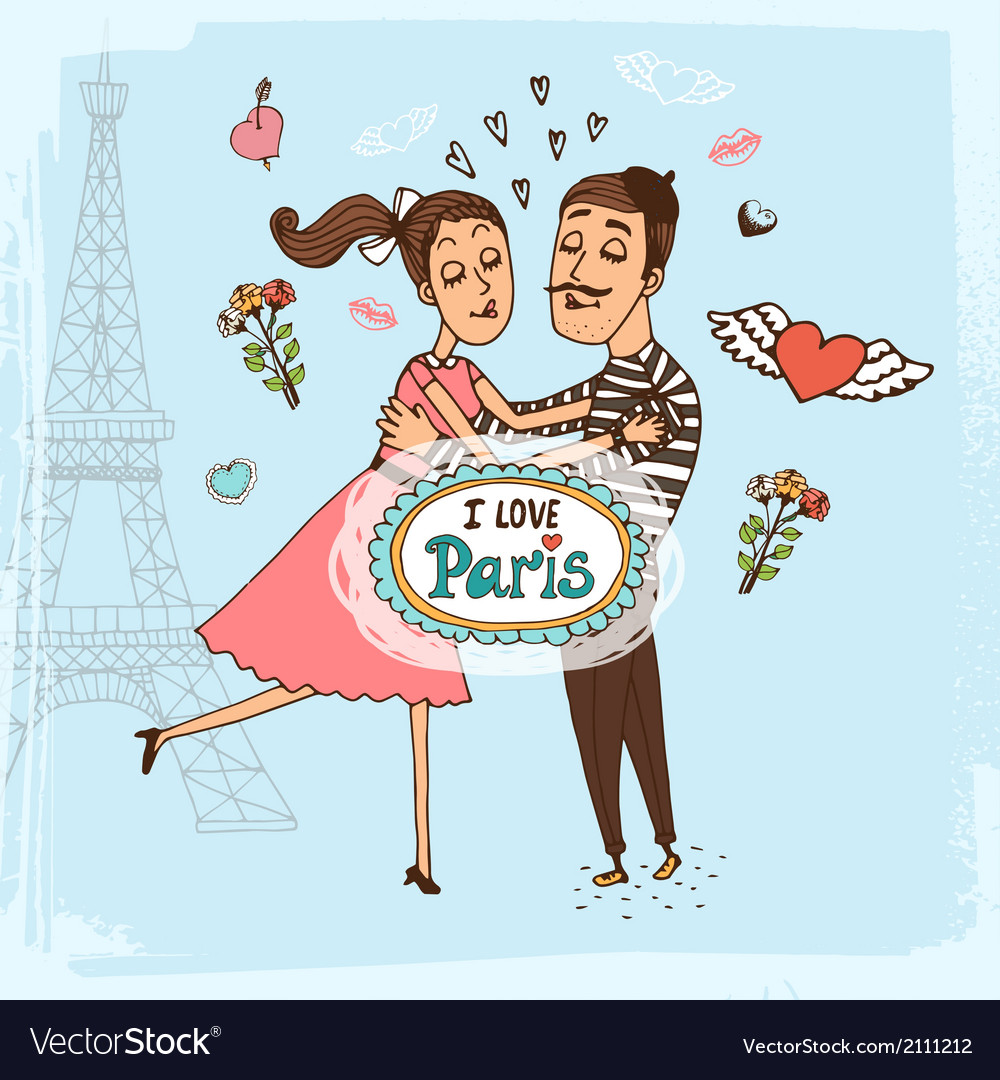 I love paris hand-drawn vector | Price: 1 Credit (USD $1)