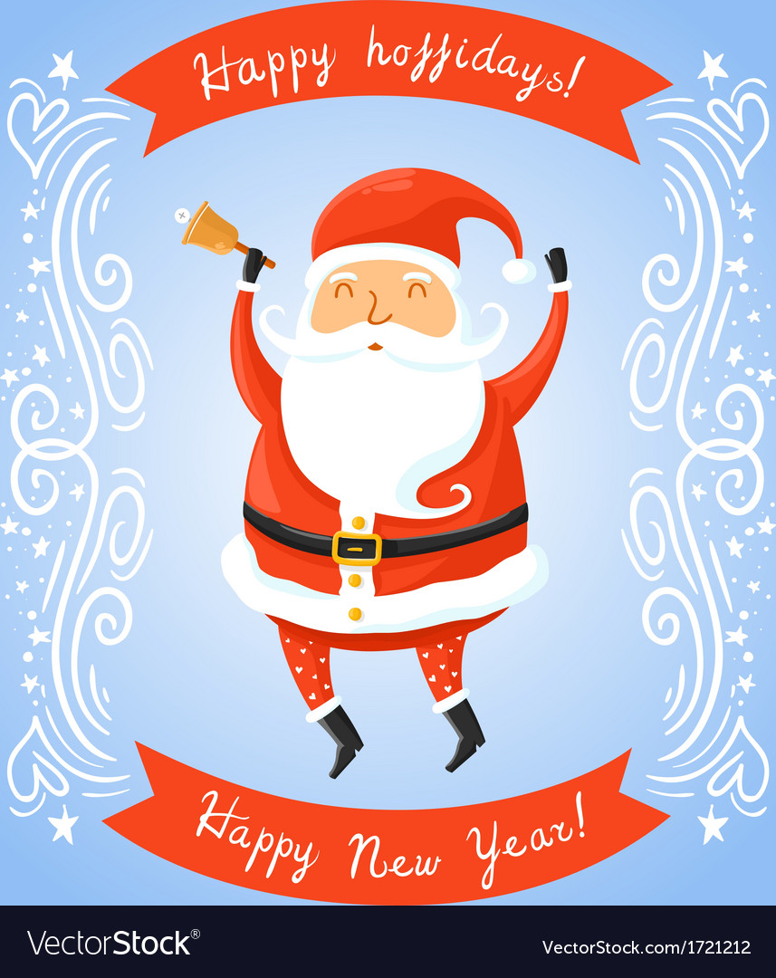 Santa claus with bell for retro christmas card vector | Price: 1 Credit (USD $1)