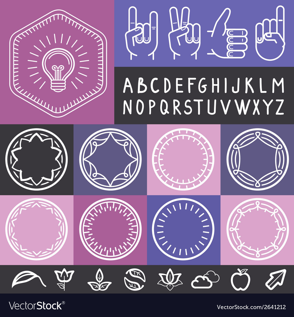 Set of outline design elements vector | Price: 1 Credit (USD $1)