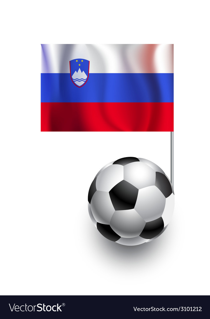 Soccer balls or footballs with flag of slovenia vector | Price: 1 Credit (USD $1)