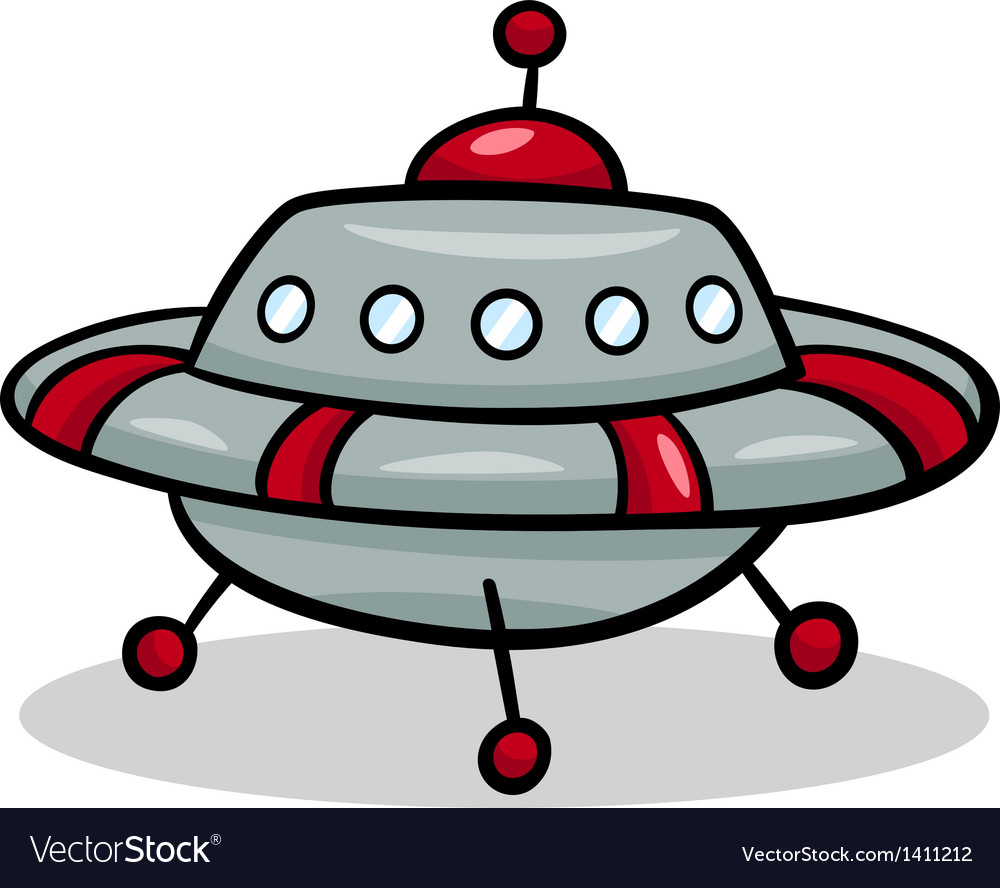 Ufo flying saucer cartoon vector | Price: 1 Credit (USD $1)