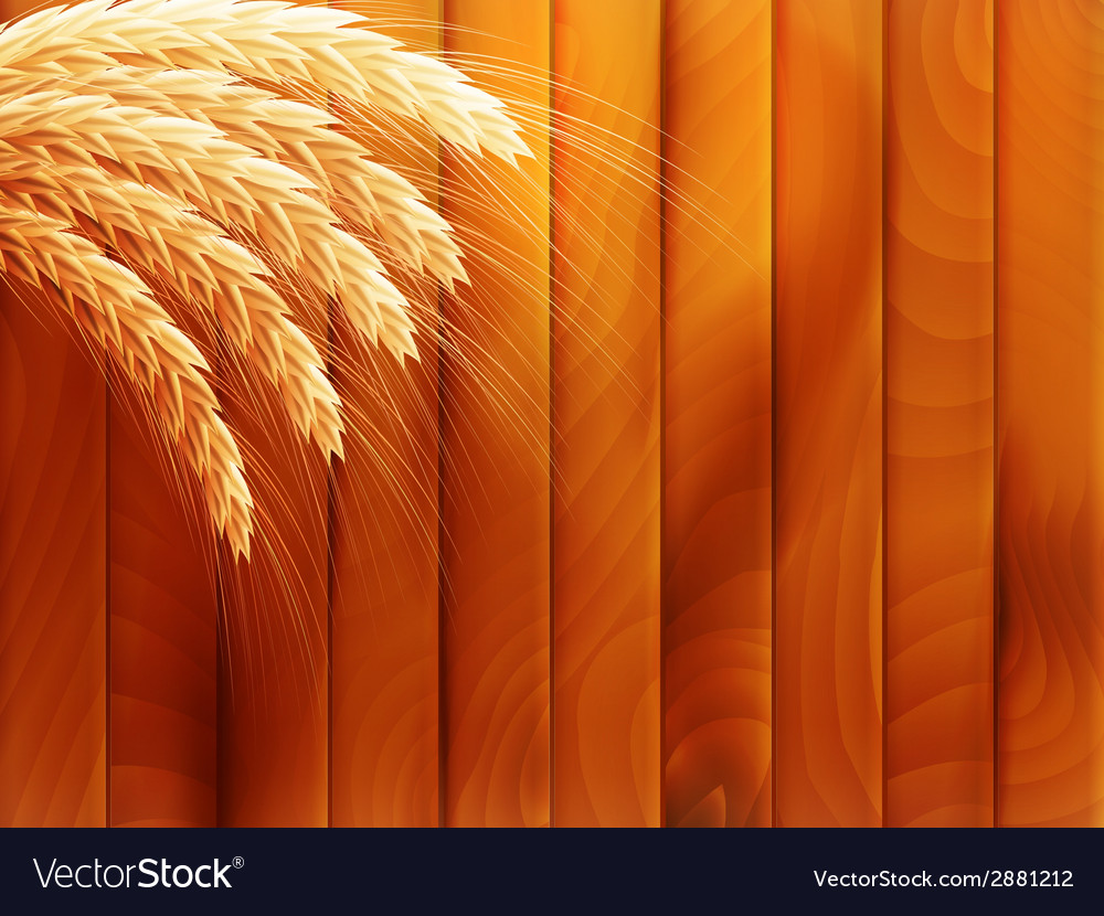 Wheat on wooden autumn background eps 10 vector | Price: 1 Credit (USD $1)