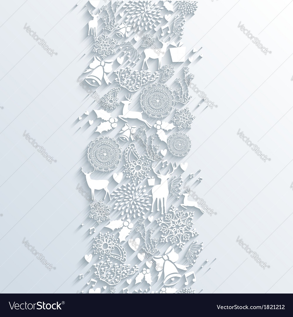 White christmas season 3d banner seamless pattern vector | Price: 1 Credit (USD $1)