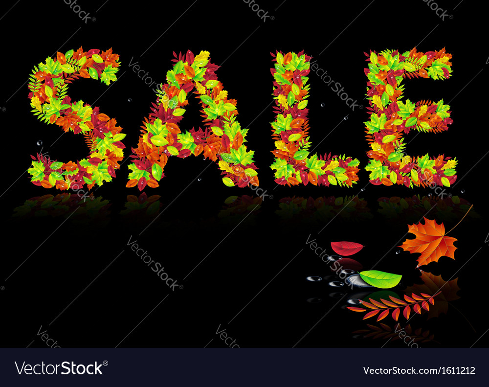 Word sale from autumn leaves vector | Price: 1 Credit (USD $1)