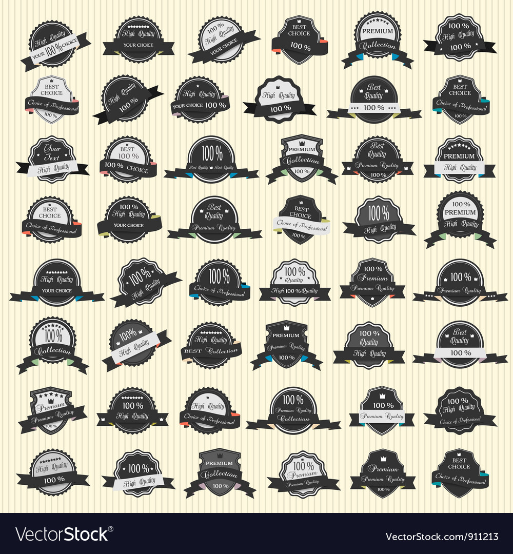 48 premium quality labels vector | Price: 3 Credit (USD $3)