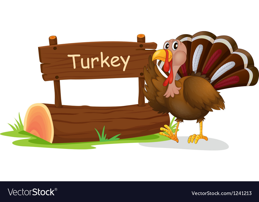 A wooden signage with a turkey vector | Price: 1 Credit (USD $1)
