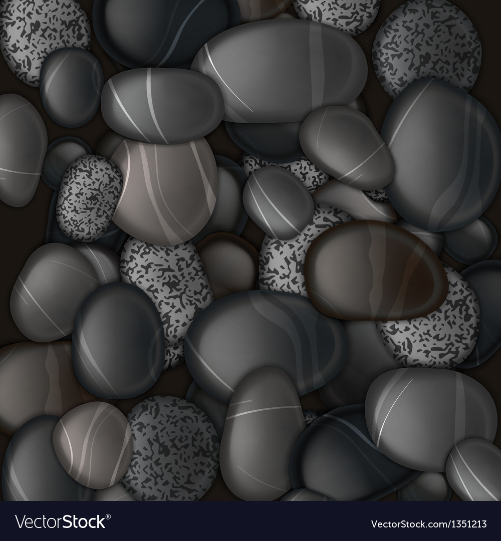Black pebble stones background vector