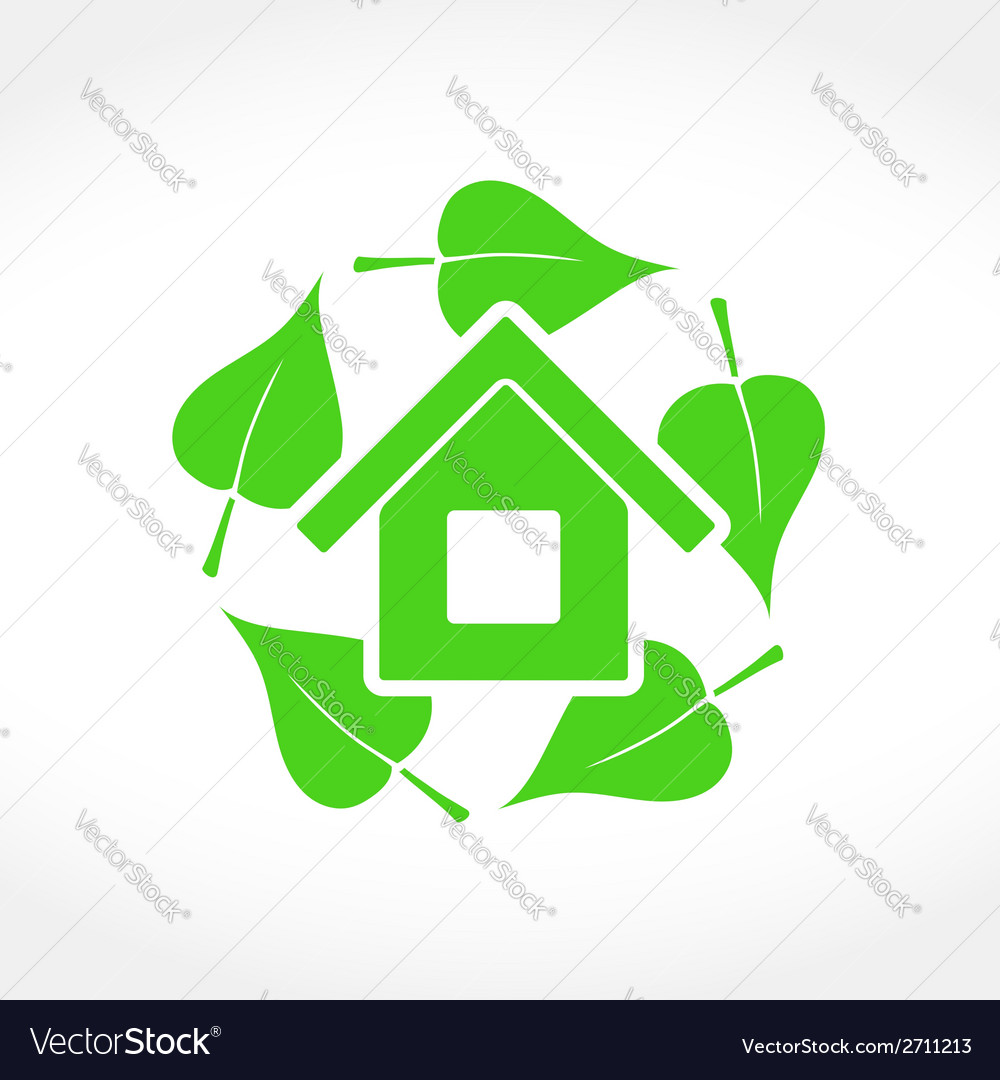 Green house emblem vector | Price: 1 Credit (USD $1)