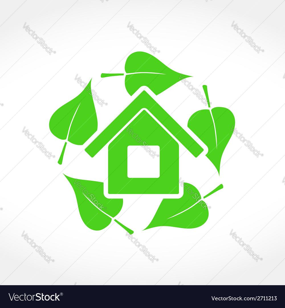 Green house emblem vector | Price: 1 Credit (USD $1)