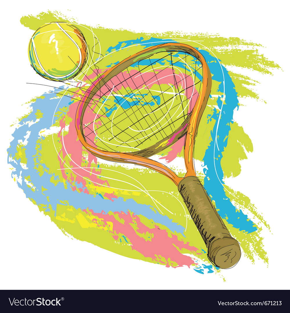 Hand drawn of tennis racket vector | Price: 1 Credit (USD $1)