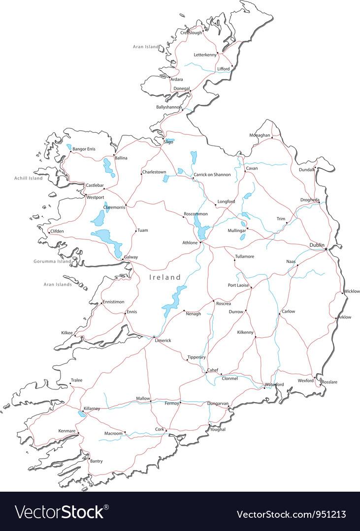 Ireland black white map vector | Price: 1 Credit (USD $1)