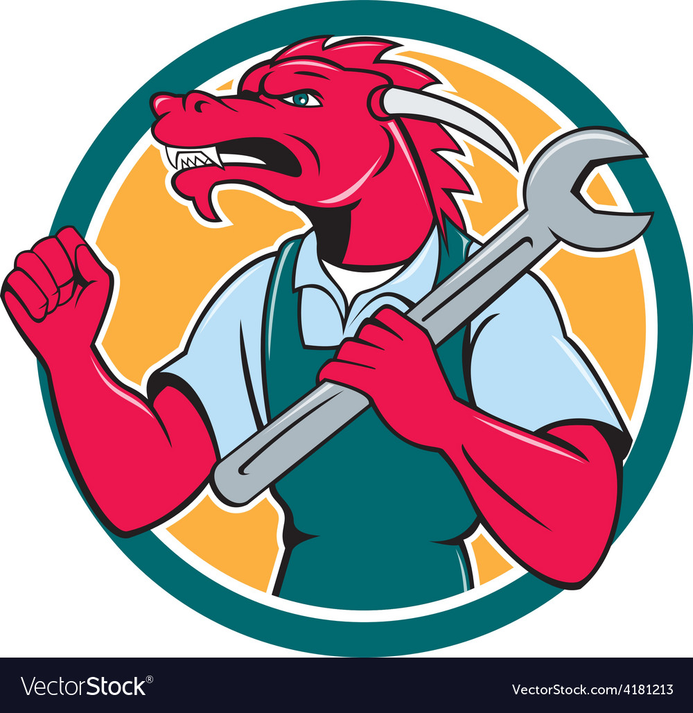 Red dragon mechanic spanner fist pump circle vector   Price: 1 Credit (USD $1)